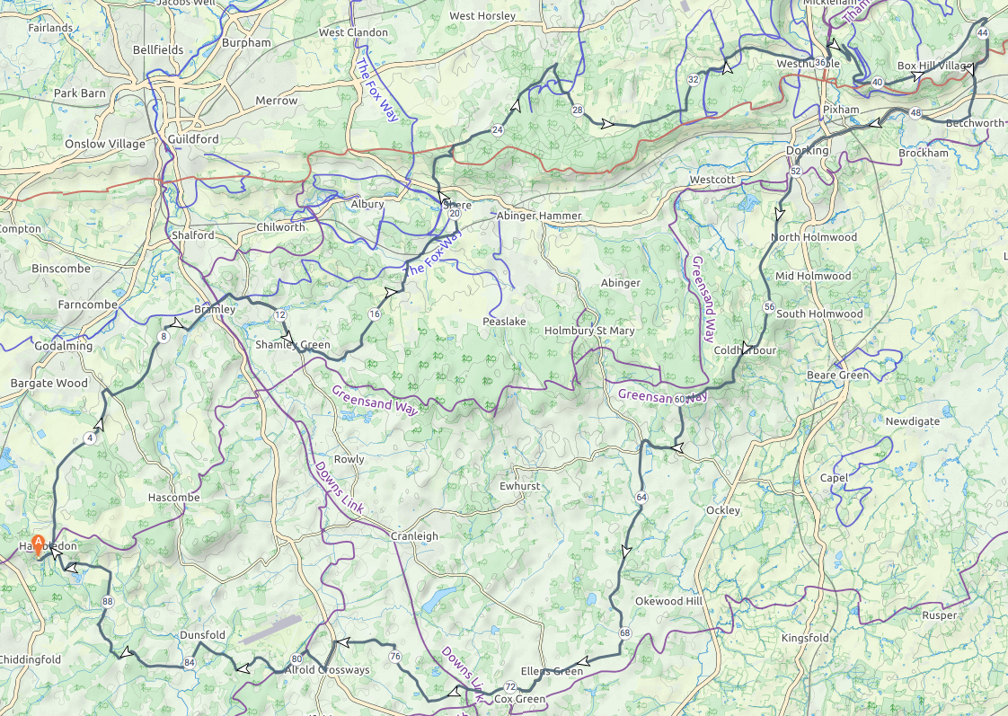 New Route Added - Route 7 (on road) - Box Hill, Coldharbour, Leith Hill - 92km 1400m of climbing