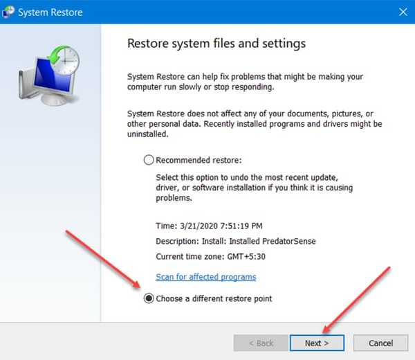choose system restore point