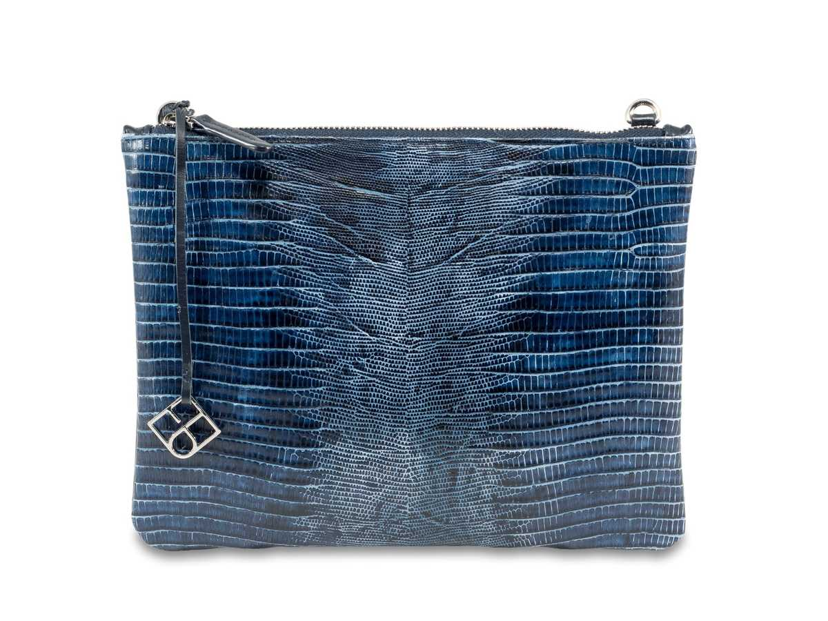 Peacock Pouch Single - blue lizzard