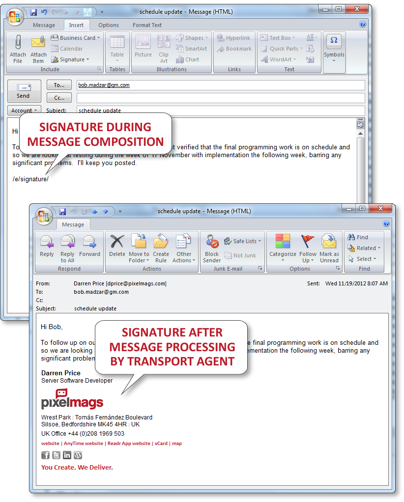 email signatures pre and post transport agent