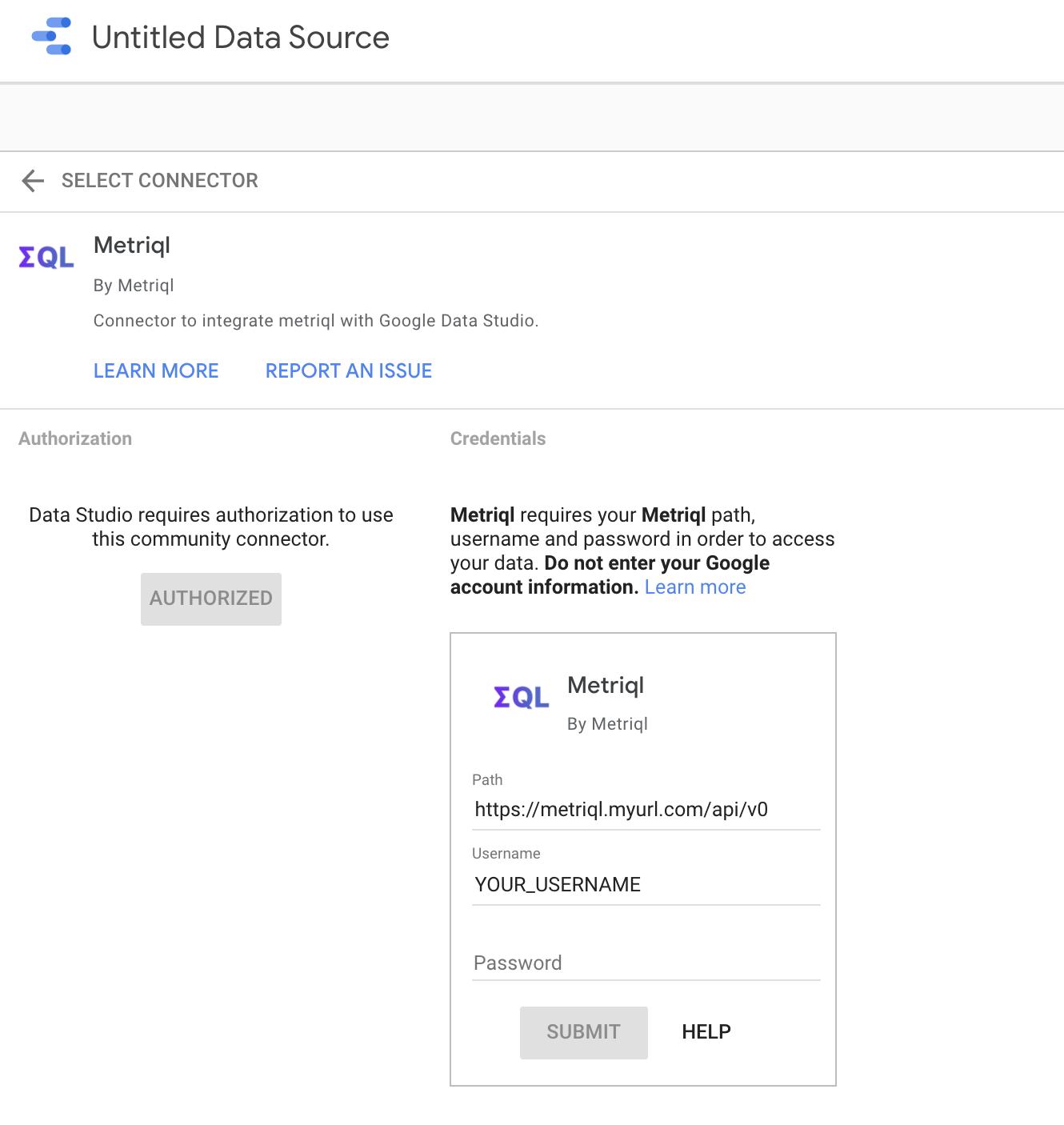 Google Data Studio Login Screen