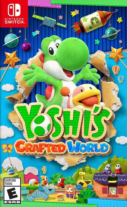 The boxart for Yoshi's Crafted World for the Switch