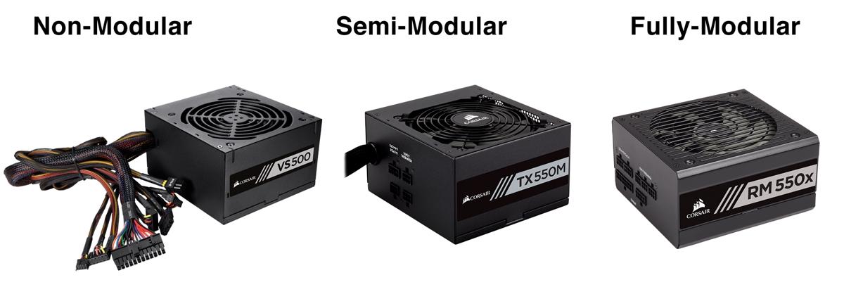 image showing a non-modular, semi-modular and modular computer power supply