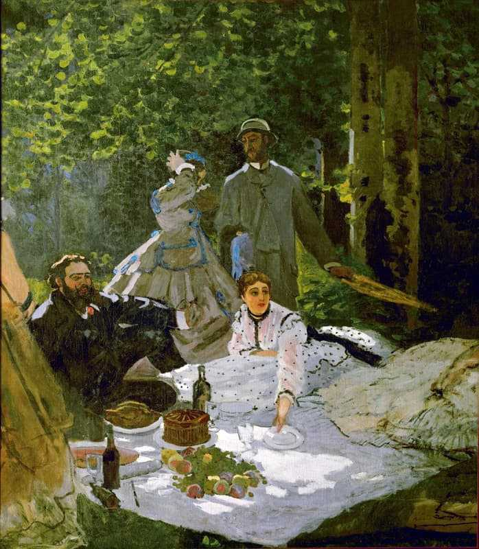 Le déjeuner sur l'herbe (right section), 1865–1866, with Gustave Courbet, Frédéric Bazille and Camille Doncieux, first wife of the artist, Musée d'Orsay, Paris