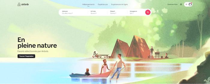 Capture d'écran de la page d'accueil du site Airbnb