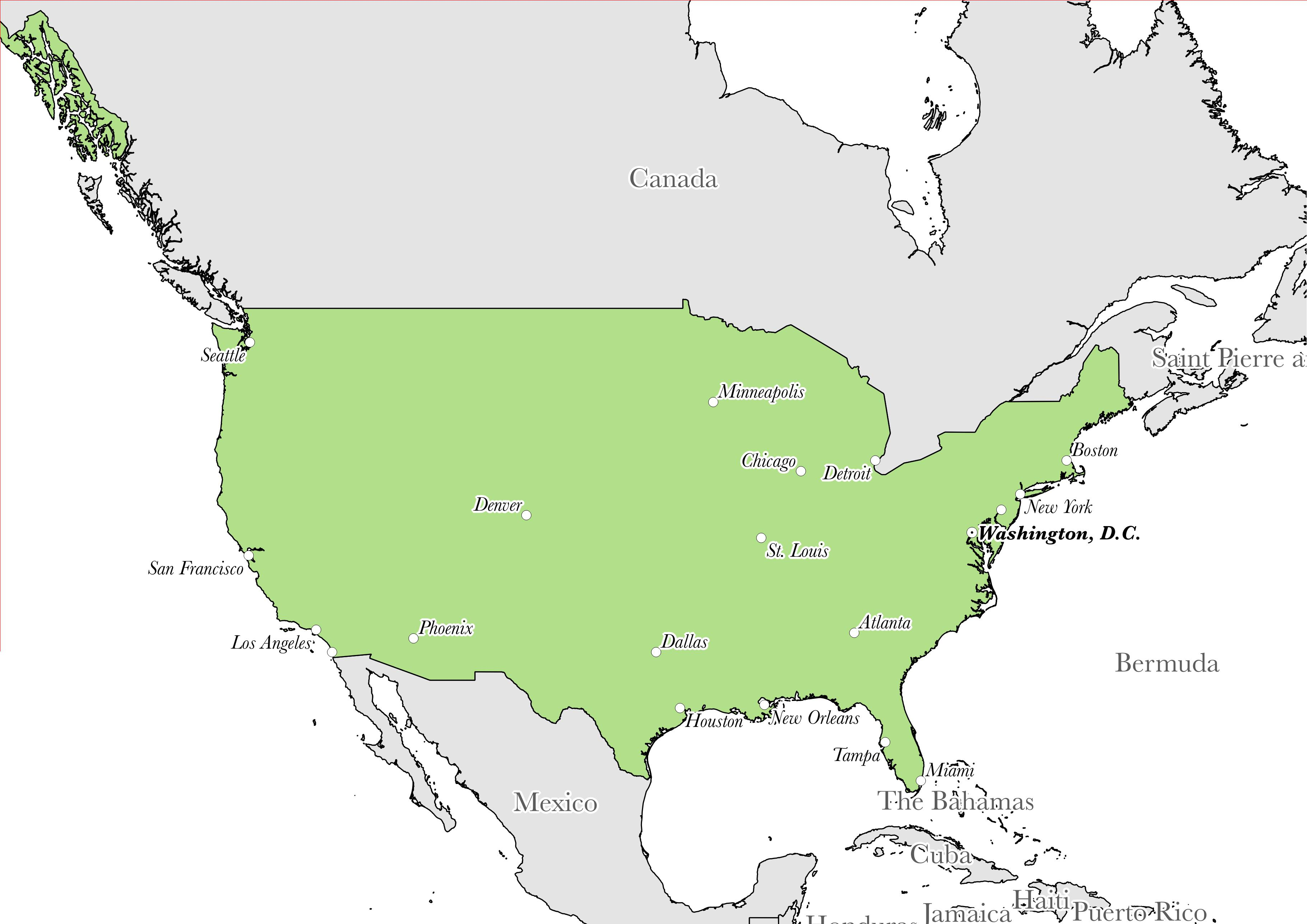 Map showing the location of United States