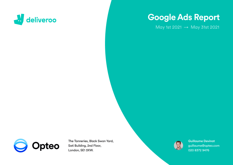 Exported Deliveroo Google Ads report cover.