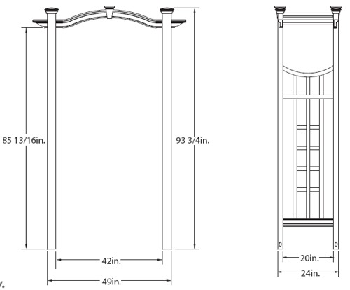 Florence Arbor wireframe dimensions
