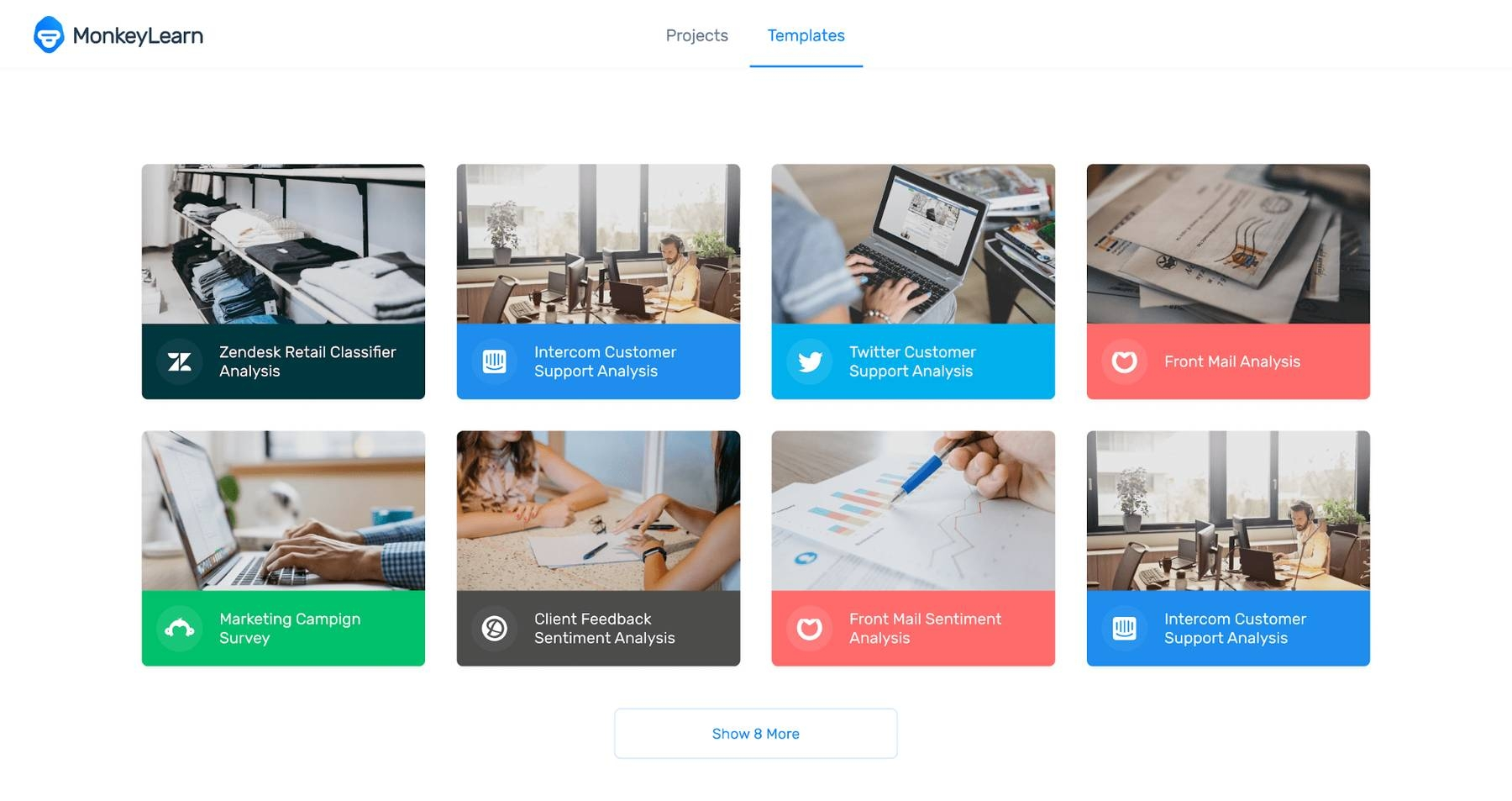 Different options of business templates for MonkeyLearn Studio.