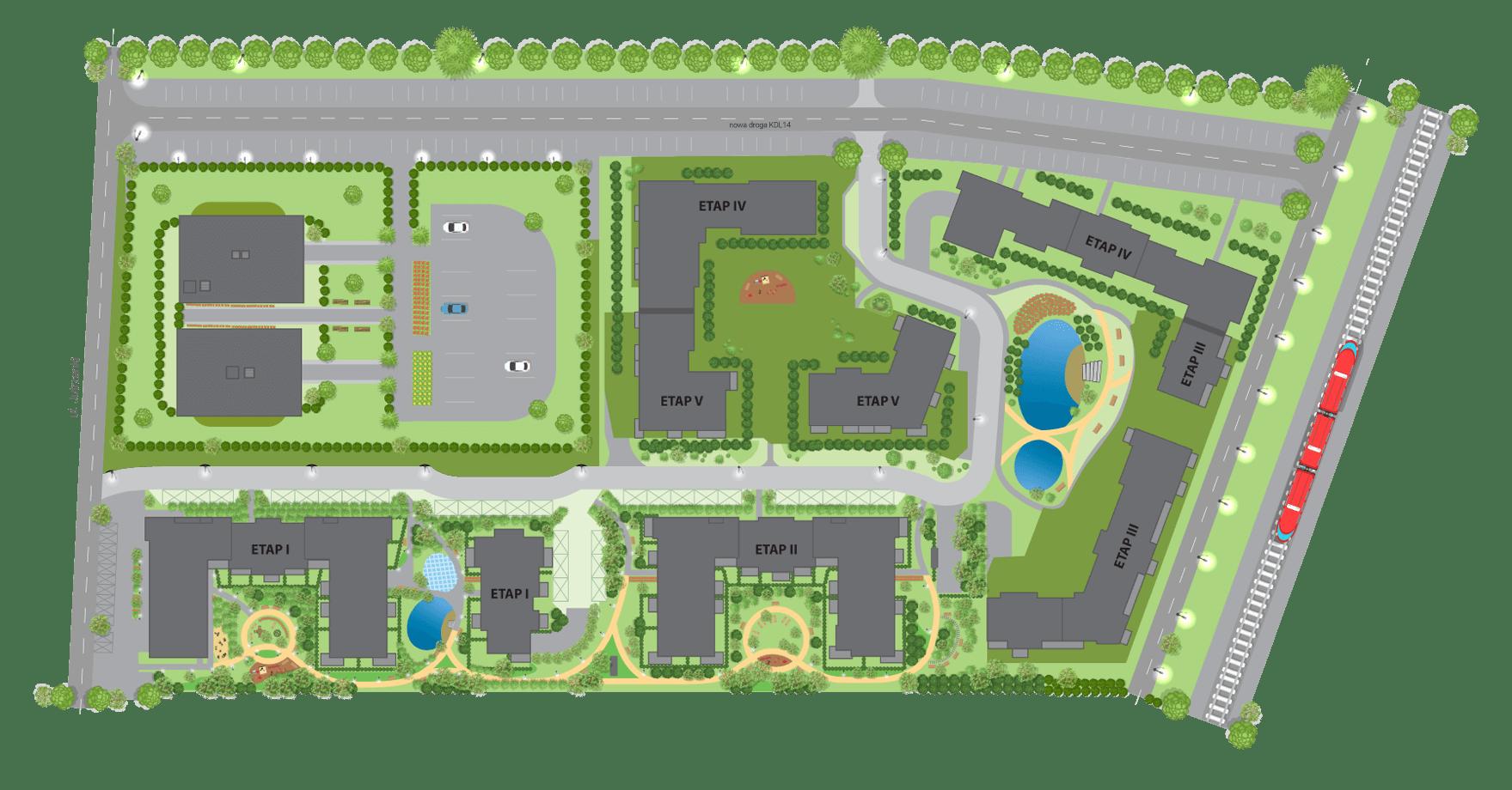 Ilustracja Planu Zagospodarowania Terenu Miasteczka Jutrzenki
