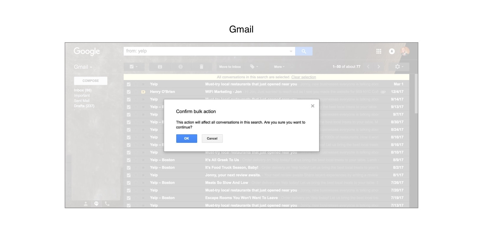 "A screenshot of Gmail email client and its ""confirm bulk action"" button"
