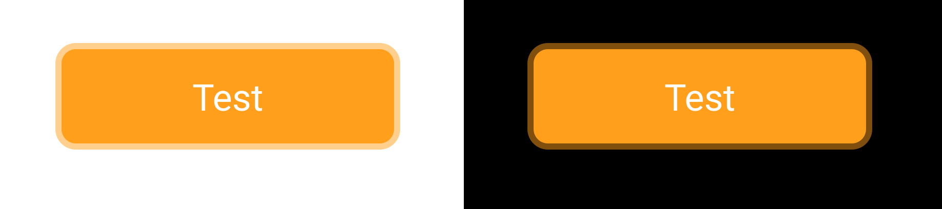 a button with a border shown on a white and black background, because opacity is reduced the border looks different on both sides