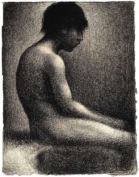 'Seated Nude, Study for Une Baignade' by Seurat, 1883, Scottish National Gallery