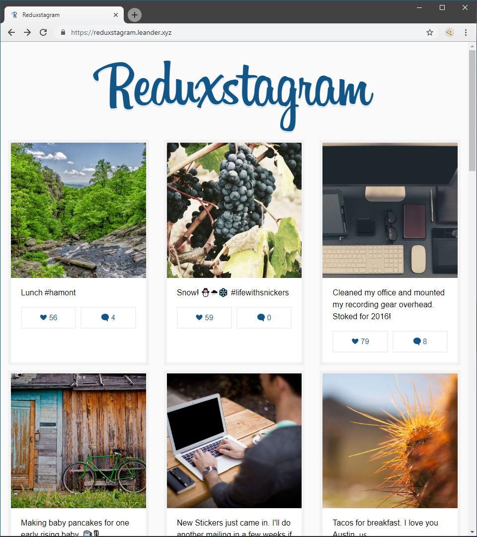 Screenshot of Reduxstagram