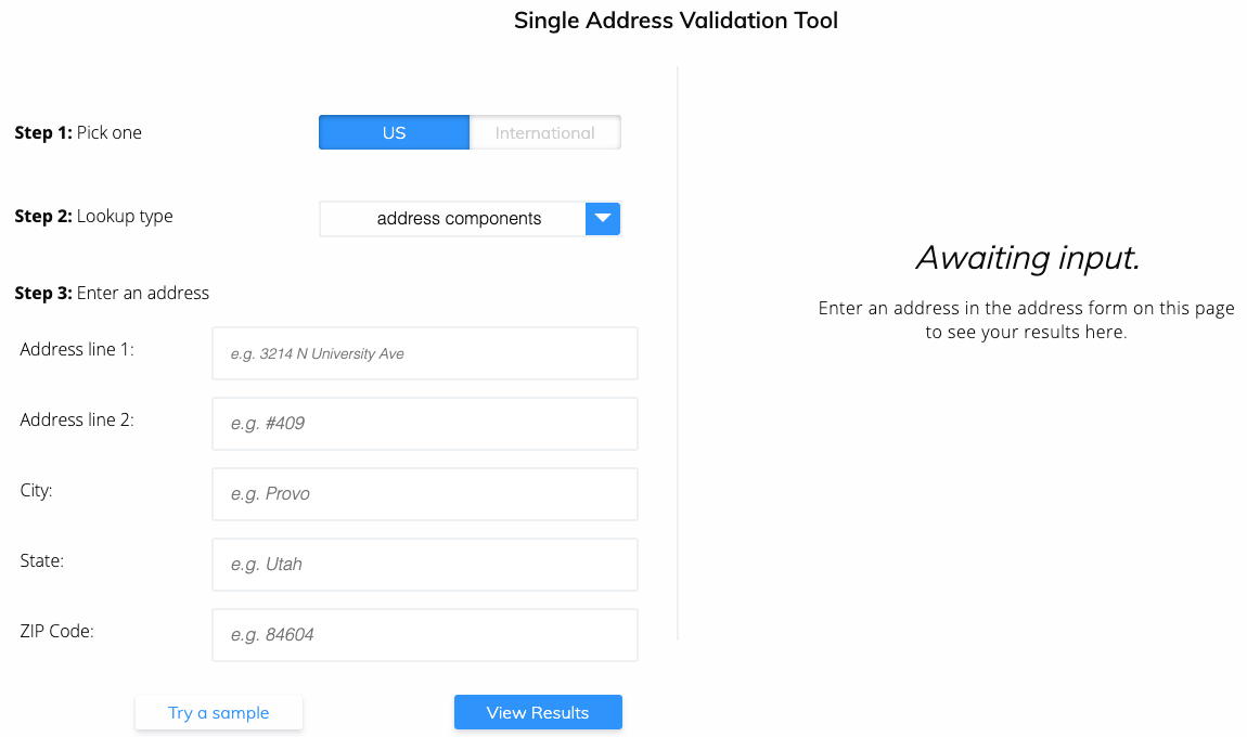 County lookup by address step 1 - Visit single address validation demo page