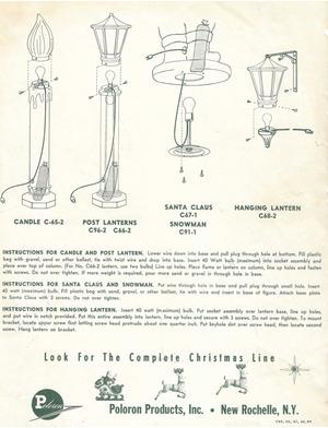Poloron Products Candle #C-65-2, C-39-2, Post Lantern #C96-2, C66-2, Santa Claus #C67-1, Snowman #C91-1, Hanging Lantern #C68-2 Instruction Manual preview