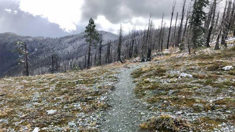 A ridge is nearly snow-free