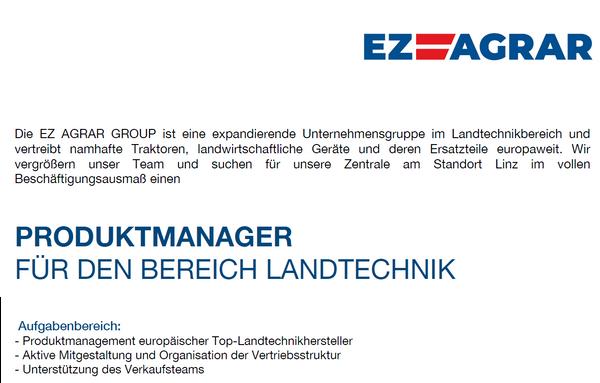 Produktmanager für den Bereich Landtechnik