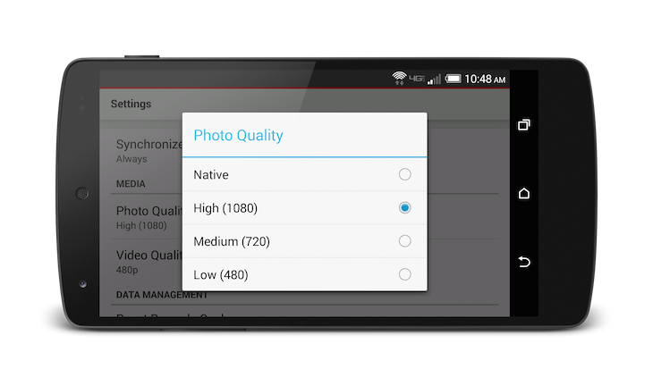 Android Photo Quality Settings