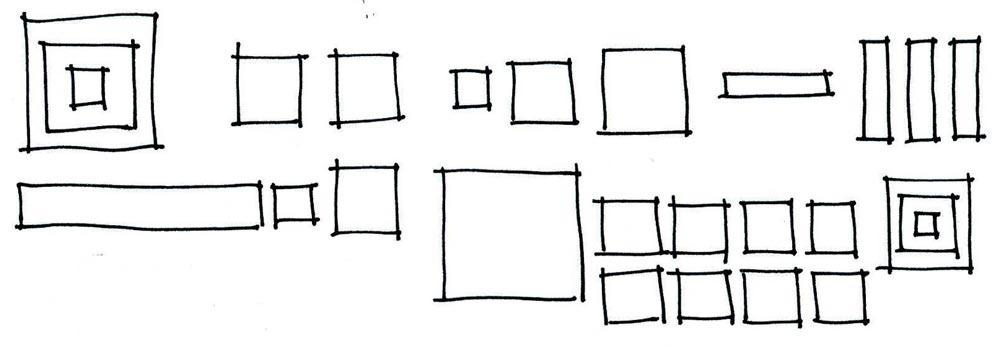 tracés carrés mains levé