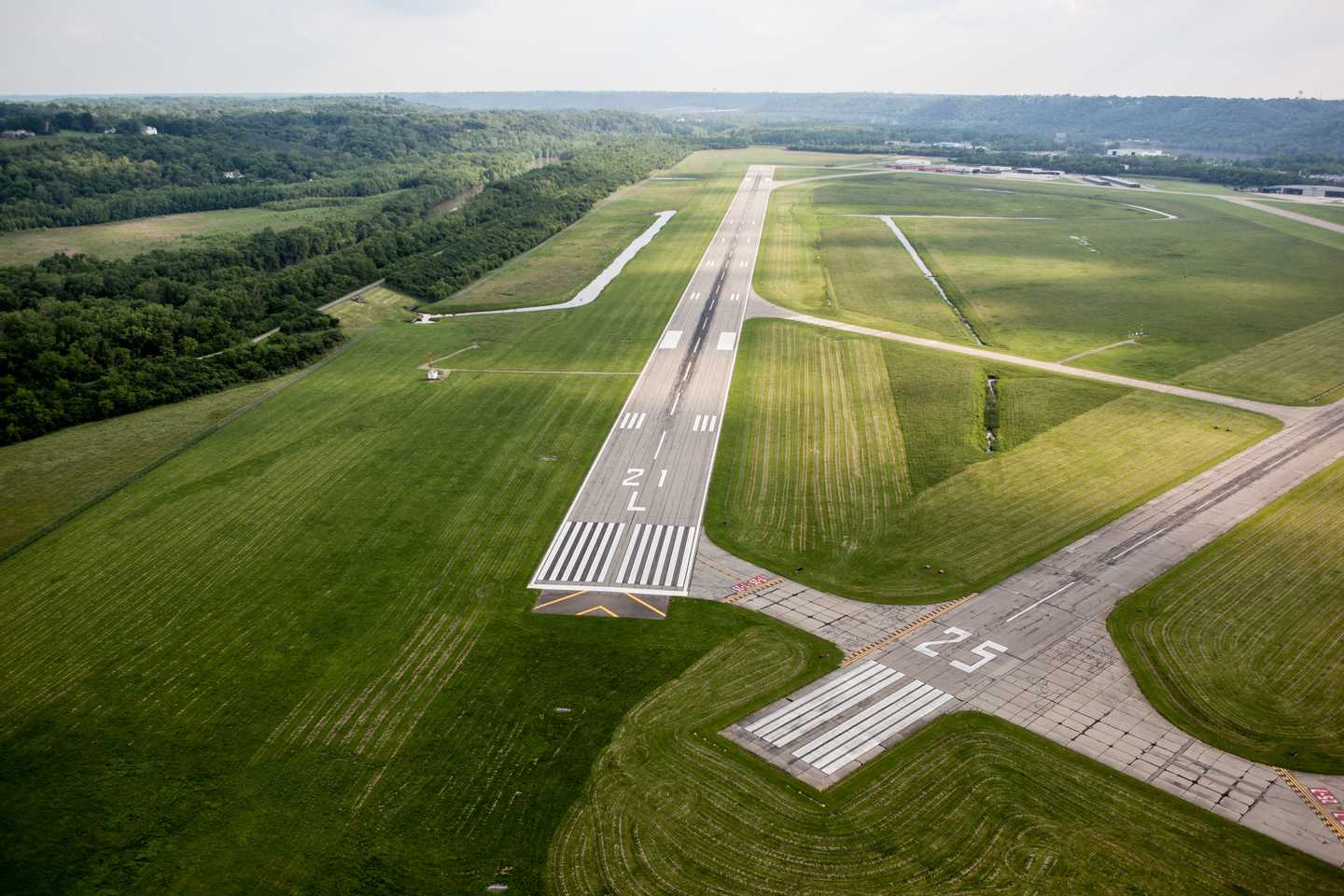 Runways seen from the air at the lunken airport.