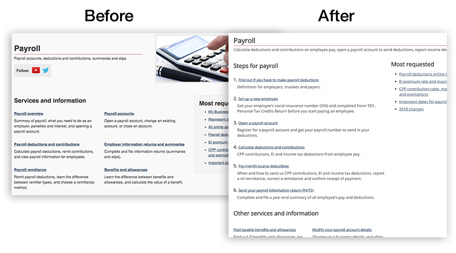 A before and after screenshot of the Payroll page showing the differences.