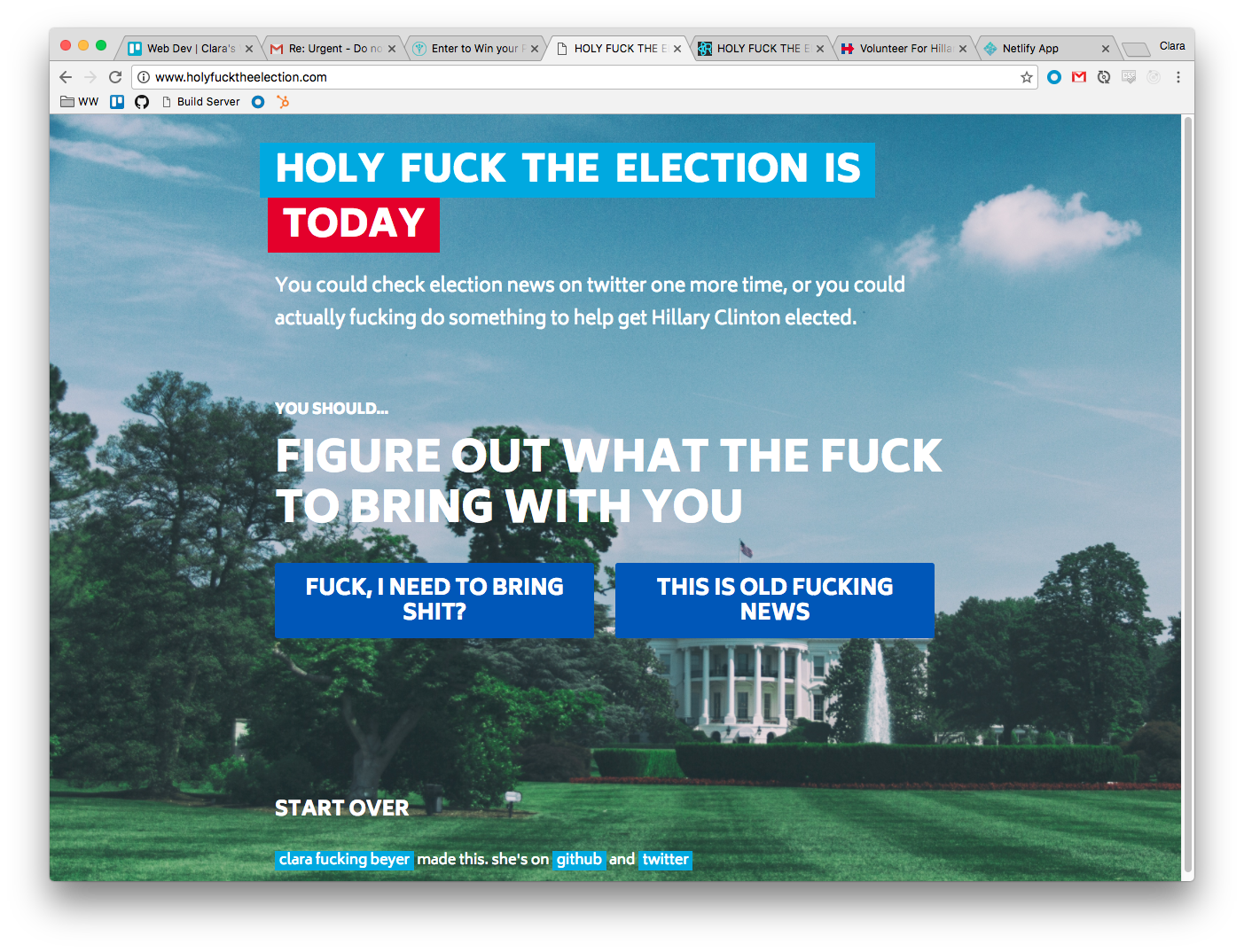 Holy FUCK, The Election is Today