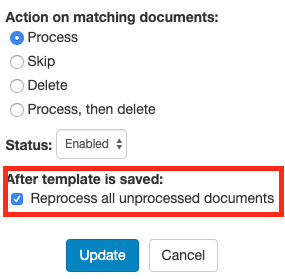 New option to prevent reprocessing documents when saving a template