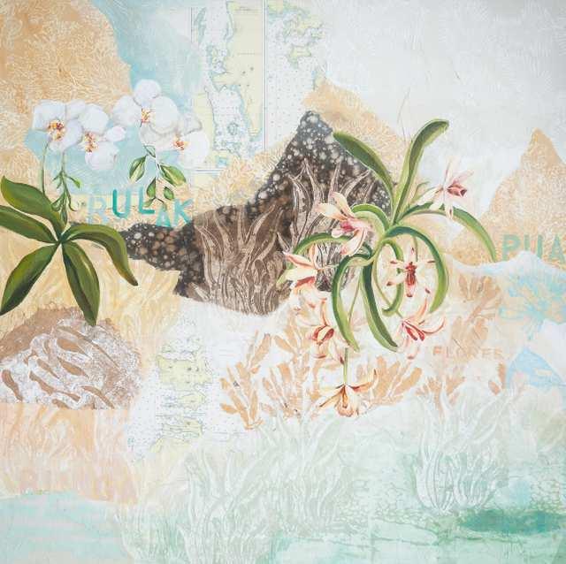 Austronesian Languages Flower, woodblock acrylic on canvas