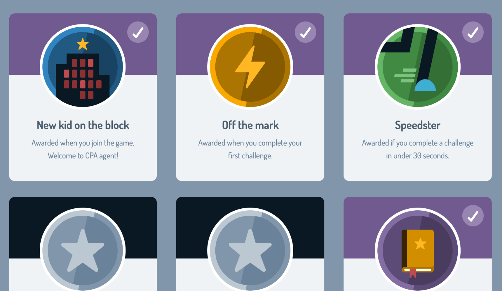 A selection of badges that can be achieved with CyberStart