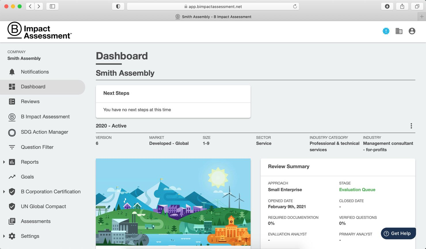 a screenshot of our dashboard in the b impact assessment showing that we submitted our application in february and are now in the evaluation queue