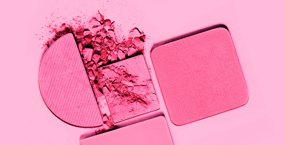 Pink powder cosmetics.