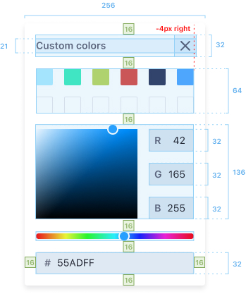Custom color panel measures and distances