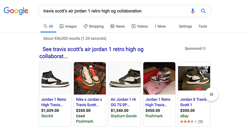 Search results for travis Scott AJ 1 OG Shoes on 10/8/19