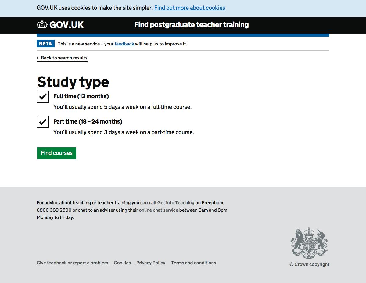 Screenshot of Study type filter