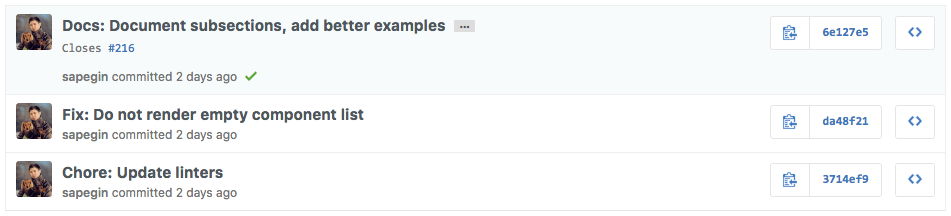Git commits following aconvention