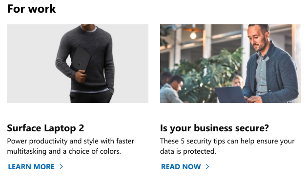Screenshot of Microsofts's website