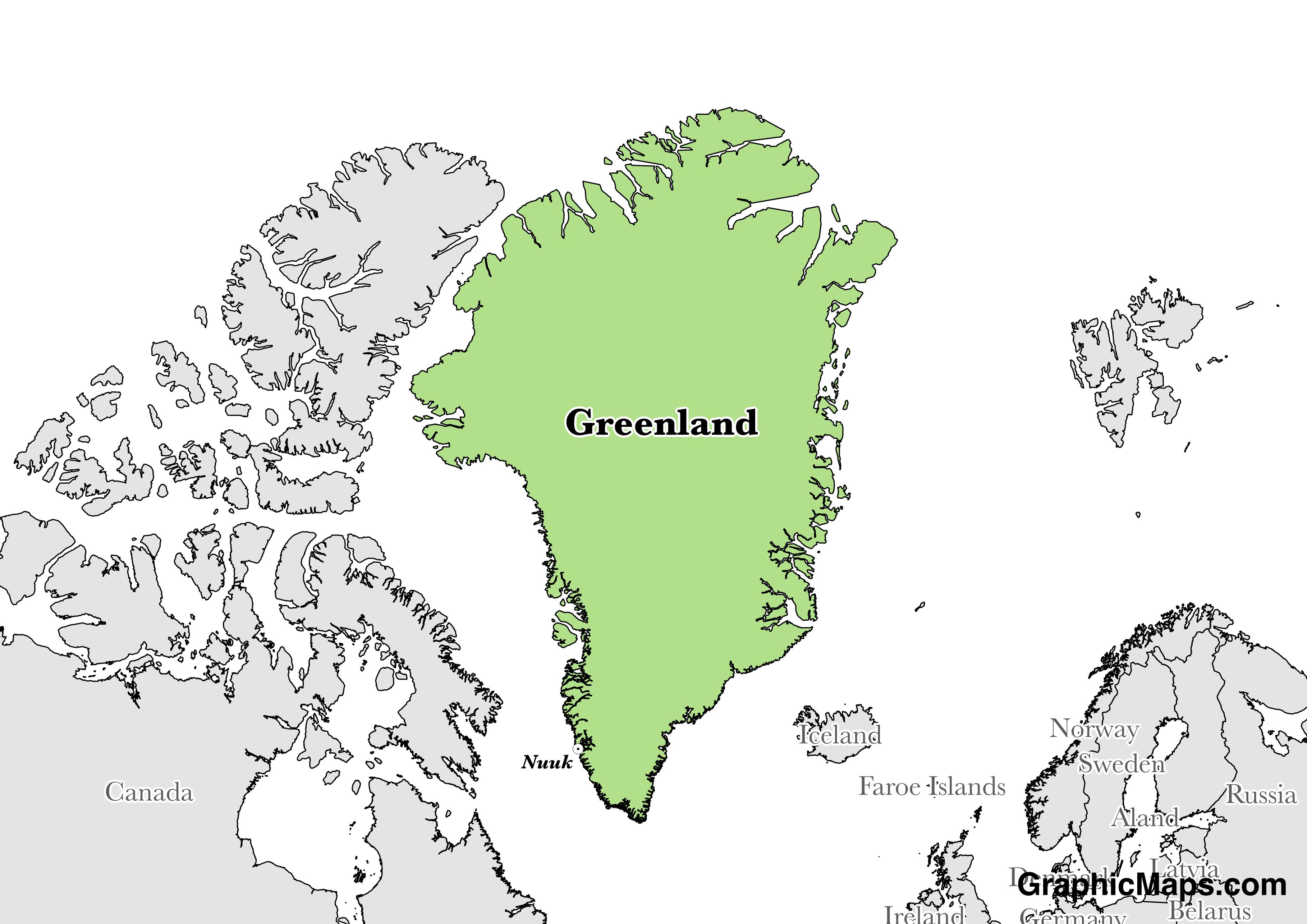 Map showing the location of Greenland