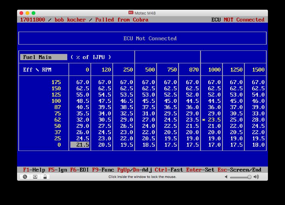 Screenshot of MoTeC M48 EMP software