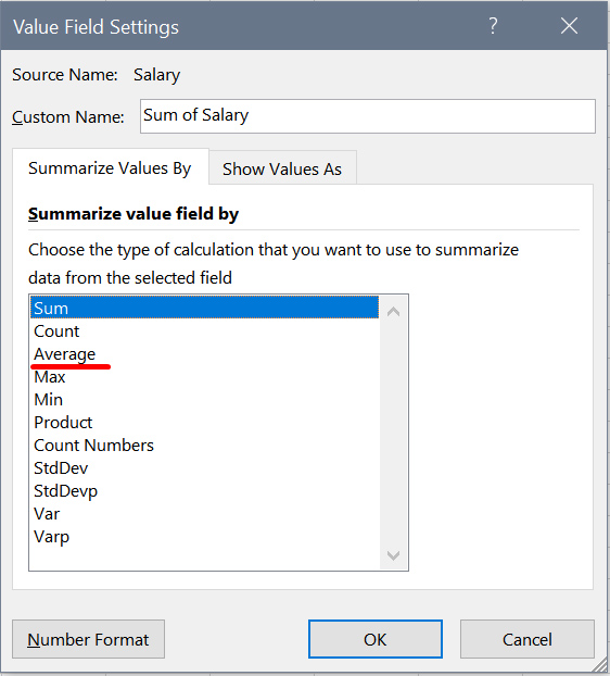 """The """"value field settings"""" window in MS Excel, used to format a pivot table"""
