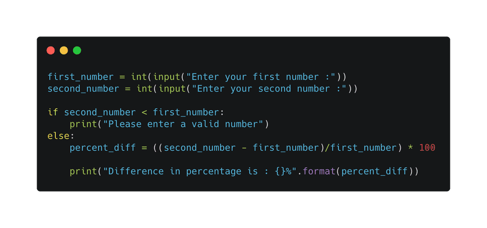 python program to find difference between numbers in percentage