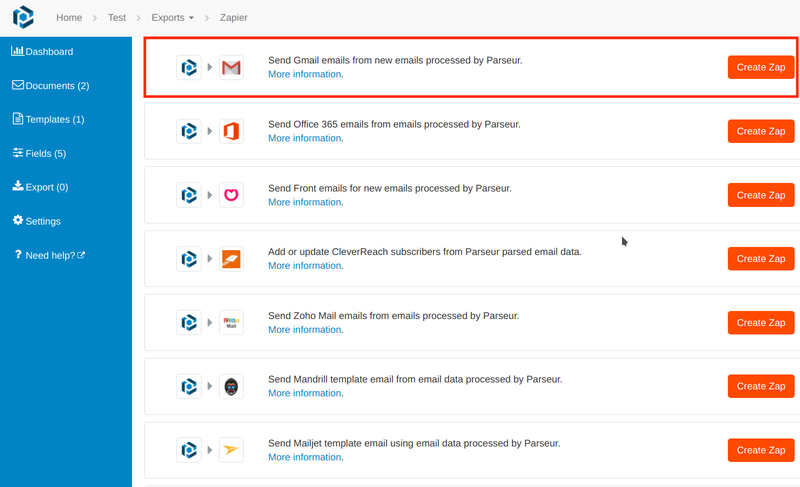 Zapier integration to send Gmail emails from new emails processed by Parseur