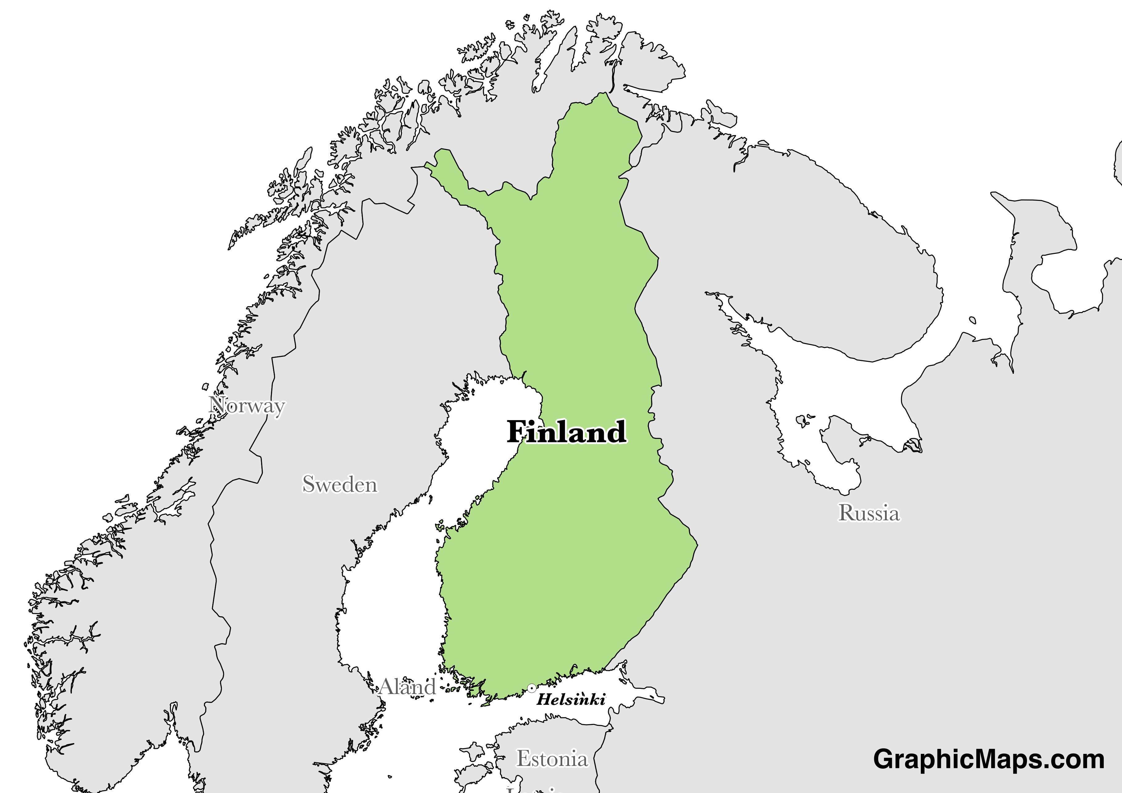 Map showing the location of Finland