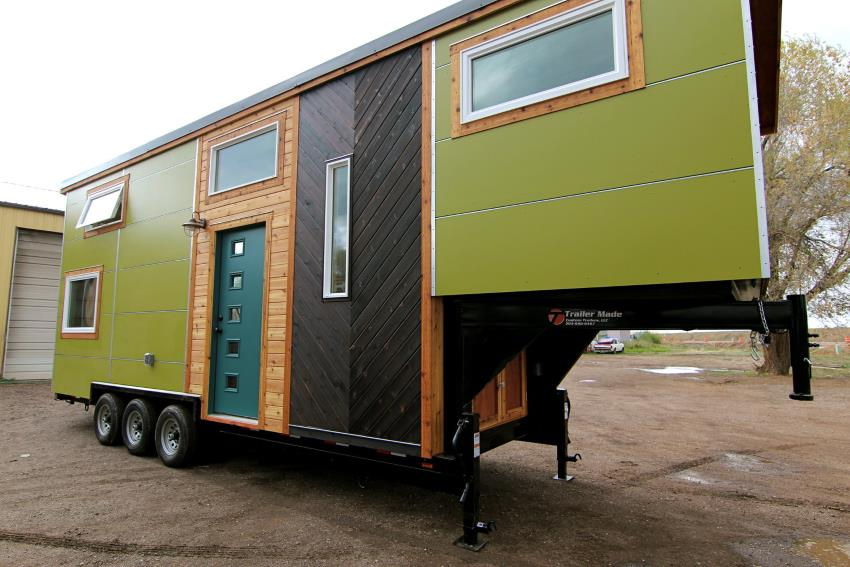 A tiny house gooseneck build on a Trailer Made trailer, from Elise and Clara's build by Michcraft Tiny Houses.