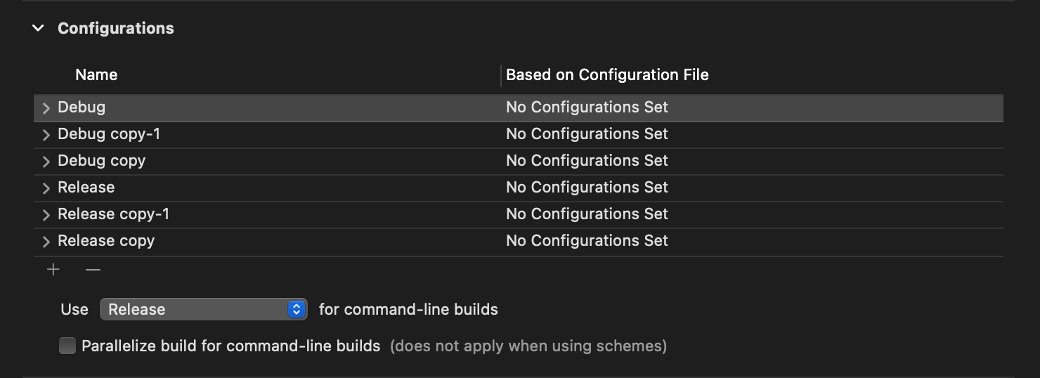Copy Debug and Release configuration for each environment.