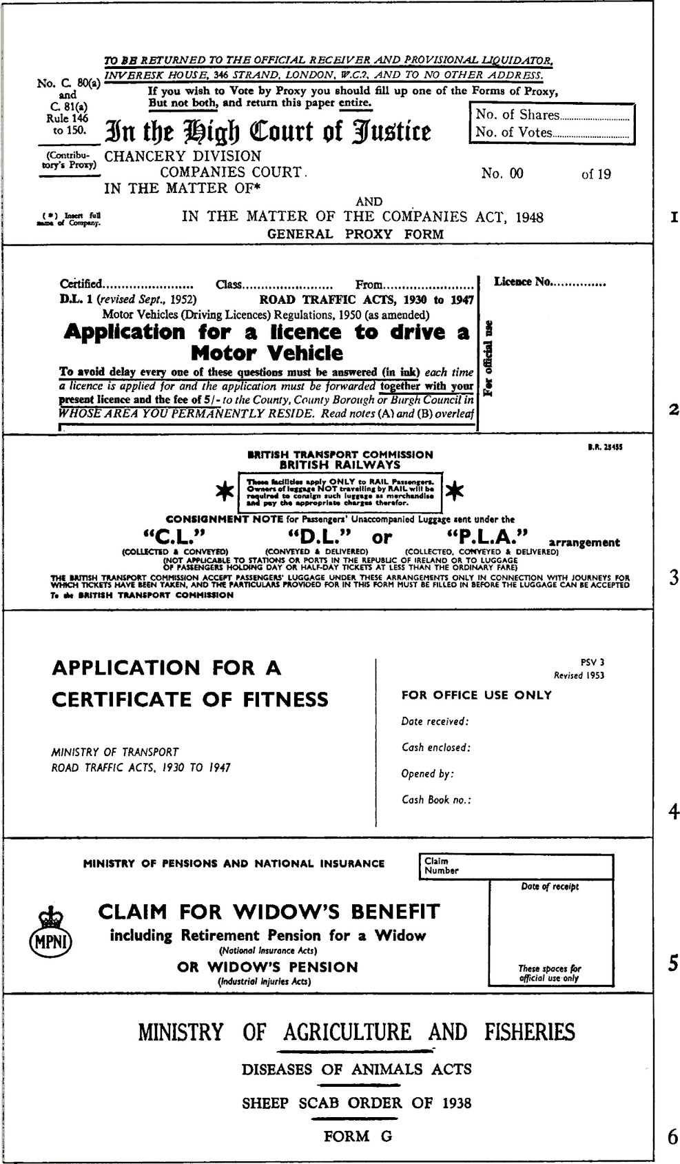 """6 examples of form headings. First three sections have lots of information next to each other with no spacing between them. For example, Application for a licence to drive a Motor Vehicle right next to """"Motor Vehicles (Driving Licences) Regulations, 1950 (as amended)"""". Fourth and fifth section has minimal information with propr spacing so it's easier to understand them. For example: Application for a certificate of Fitness next to Ministry of Transport Road Traffic ACTS, 1930 to 194. Section 6 reads """"Ministry of Agriculture And Fisheries, Diseases of Animals ACTS, Sheep Scab Order of 1938, Form G"""""""