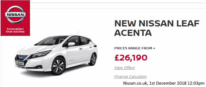New Nissan Leaf Acenta, from Nissan.co.uk