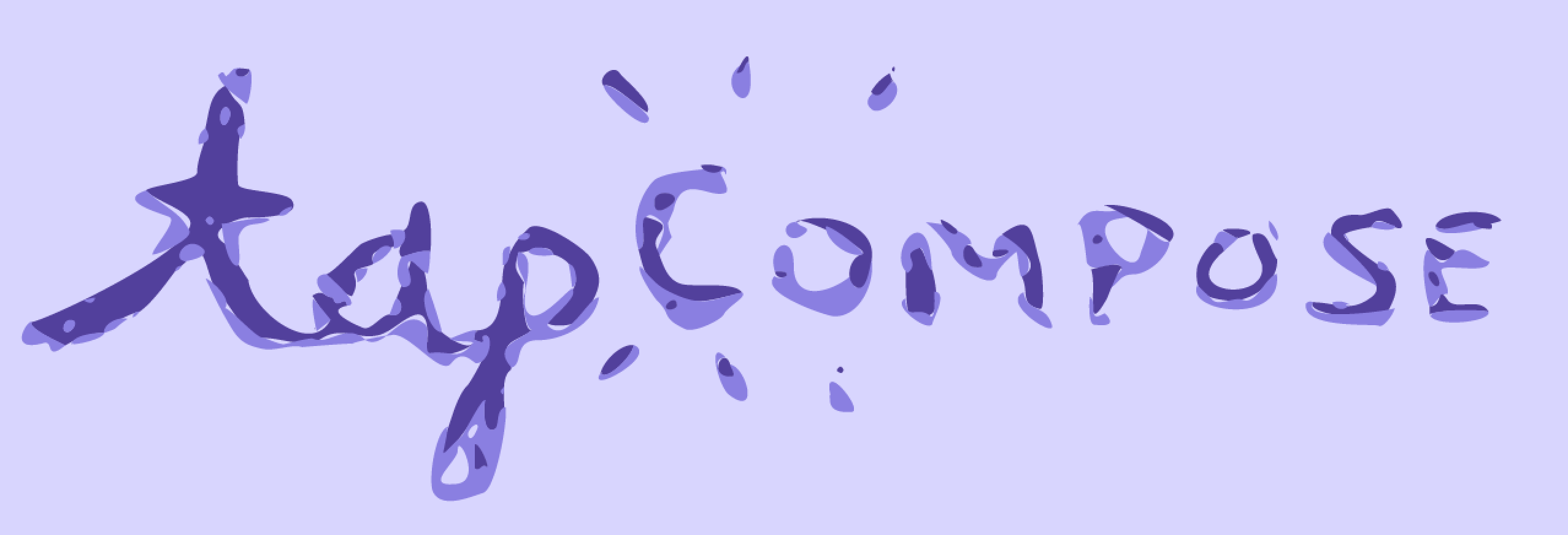 Purle background with the cursive text 'Tapcompose' and radiant lines eminating from the 'c' of 'compose.'