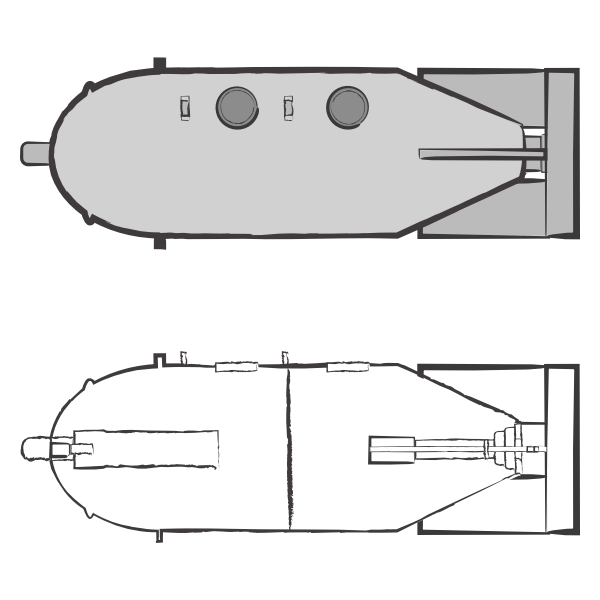Image shows an illustration of two M4000 bombs stacked vertically. The illustration above depicts the exterior of the bomb and the illustration below shows the interior structures of the bomb. The M4000 bomb is depicted in grey. The illustration was commissioned by GPPi and created by Judith Carnaby.