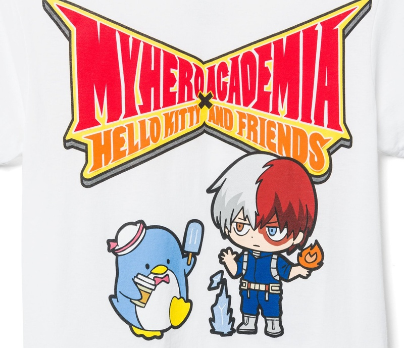 Hello Kitty and My Hero Academia Mens White Shirt